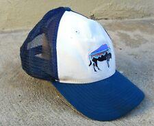 PATAGONIA FITZ ROY BISON BUFFALO TRUCKER MESH CAP BLUE & WHITE SNAPBACK ONE SIZE