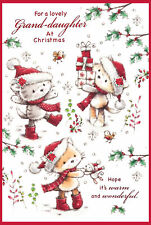"Granddaughter Christmas Card -  Kittens In Santa Hats With Glitter 7.5"" x 5.25"""