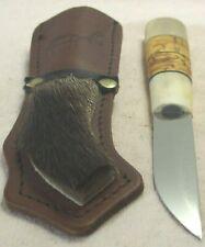 2004~PUUKO CUSTOM SCANDINAVIAN BIRD KNIFE w/BURLWOOD+BONE HANDLE & DELUXE SHEATH