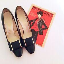 Vintage 1960's Mod Navy Blue Shoes Heels Pumps 60's Madmen Retro Career Spring