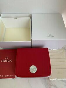 GENUINE OMEGA Watch Box Case Red, Card and White Outer Box Set