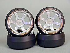 RC 1/10 DRIFT WHEELS Package 0 Degree 9MM Offset 6 Spoke SILVER W/ CHROME LIP