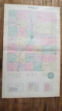 Antique Colored MAP - BUTLER COUNTY + PONTIAC & ANDOVER - 1887 KANSAS ATLAS