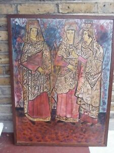 French/Russian painting on wood. Large size: 89 x 67 cm  c 1930 framed