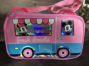 """Disney Mickey & Minnie Mouse Lunch Box """"Fresh Donuts"""" Pink/ Light Blue New WT"""