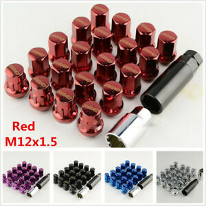 20pc Red Alloy Steel M12 X1.5 Racing Car Modified Wheel Screws Rims Lug Nuts Kit