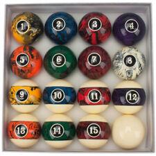 2-1/4 Inch Regulation Size Weight Dark Marble Swirl Billiard Table Pool Ball Set