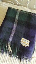 Vintage St Albans Scottish mohair throw blanket Rug Forbes travel purple green