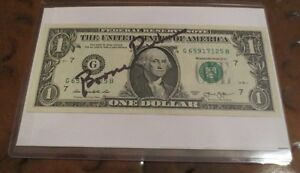 T Boone PIckens signed autographed dollar $1 bill BP Capital Mgmt Hedge Fund