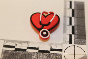Bracelet or SHOE CHARM Red Heart with black trim and Stethoscope