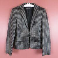LTR0651- LOUIS FERAUD Misses Leather Blazer Jacket Black White Embroidery Sz 4