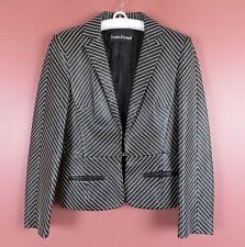 8c7c8615d757 LTR0651- LOUIS FERAUD Misses Leather Blazer Jacket Black White Embroidery  Sz 4