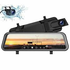 """TOGUARD Backup Camera 10"""" Mirror Dash Cam, Dash Cam Front and Rear Full Touch"""