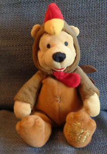 """Winnie the pooh in Rooster outfit costume Disney Store Chinese Beanie  8"""" tall"""