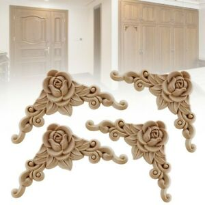 4x Wooden Carved Corner Onlay Applique Furniture Mouldings Decal Decoration