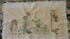Embroidered panel of children out for a walk and play, hand crafted