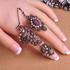 Hot New Design Adjustable Two Finger Rings Acrylic Hollow Flower Vintage Ring