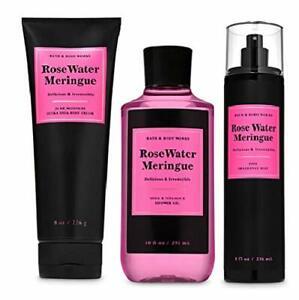 Bath & Body Works Rose Water Meringue 3 Piece Set - Shower Gel, Cream, and Mist