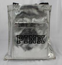 Victoria's Secret Women's PINK Tote Bag w/ Black Logo HD3 Metallic Silver Small