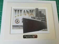 RMS TITANIC Mounted Picture with Piece of Wreck Recovered Coal & Gold Plaque