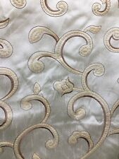 IVORY Floral Embroidered 100% Polyester Dupioni Fabric (54 in.) Sold BTY