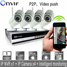 Wireless HD 4CH CCTV NVR 720P Video IP Network Home Security Camera System WiFi