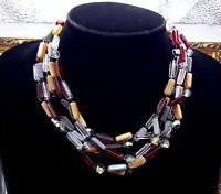 Vintage Multi Strand multi colored glass beads necklace.