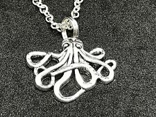 "Octopus Large Medium Charm Tibetan Silver 18"" Necklace D158"