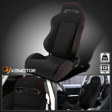 [Driver Side]Red Stitching Black Cloth Reclinable Racing Seat Left w/ Silders