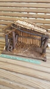 Vintage Nativity Wood Manger Scene made in Italy Thatch Roof
