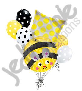 7 pc Cute Bumblebee Balloon Bouquet Honey Bee Birthday Buzz Happy Birthday