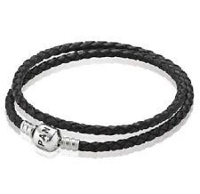 NEW AUTHENTIC PANDORA BLACK DOULBE Leather Bracelet Large (590705CBK-D3) 16.1 in