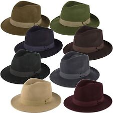 100% Wool Felt Fedora Hat with Grosgrain Band Handmade in Italy
