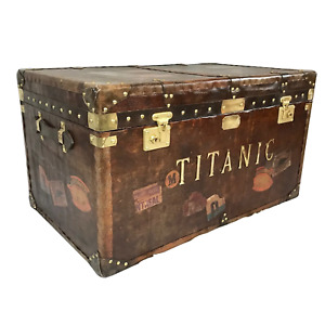 1 Large Fine Marine Titanic Leather Luggage Travel Trunk Chest Coffee Table