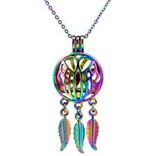 RAINBOW color Wing Dream Catcher Diffuser Locket no Oyster Cage Necklace ---C710