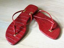 Ralph Lauren Red Leather Flip Flop Sandals Embossed Croc US Size 5.5