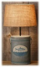 "Clear Lake Fishing Table Lamp with Metal Bucket Base Burlap Shade 23"" H NEW"