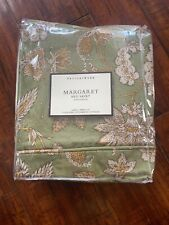 Pottery Barn Margaret Bedding Green Floral Cotton Linen Bed Skirt Queen New