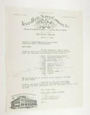 1932 Lamson Goodnow Texas Hotel Supply Co Houston TX Order Letter Ephemera P900C