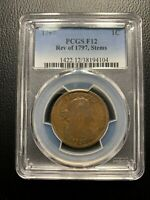 1797 Rev of 97 Stems Draped Bust Large Cent PCGS F12 Penny Flowing Hair