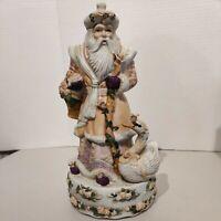 Victorian Old World Santa Porcelain Music Box Figurine, Plays White Christmas