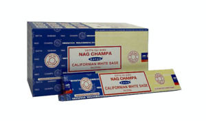 Satya Californian White Sage Nag Champa Incense Joss Sticks in 3 or 12 Pack 15g