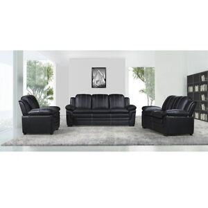NEW BLACK MODERN LIVING ROOM HIGH QUALITY SOFA SET 3PC FURNITURE