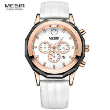 Megir Women Casual Chronograph Quartz Watches Waterproof Watch Leather Strap