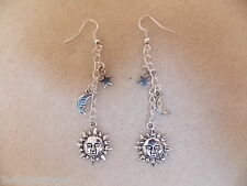 Silver Plated Earrings, Sun, Moon and Star, Retro Kitsch