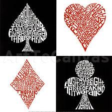 "20""x20"" POKER HANDS by POP ART L.A. ACE HEARTS SPADES CLUBS DIAMOND CARDS CANVAS"