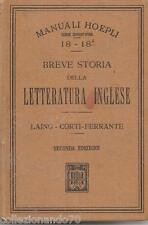 MANUALE HOEPLI DI BREVE STORIA DELLA LETTERATURA INGLESE 2^ EDIZIONE