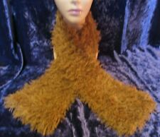 Super Fur Hand Knitted Shaped Scarf Camel