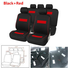 Black+Red Car Seat Cover Front+Back Full Set Seat Protector Interior Accessories