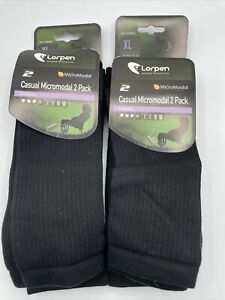 Lorpen Casual Micromodal 2 Pack Crew Socks Black Sz XLg Lot Of 2 New